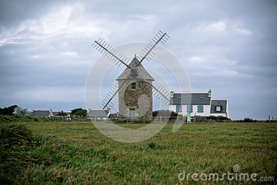 Old windmill in Brittany, Western France
