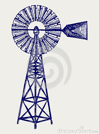 Free Old Windmill. Doodle Style Stock Image - 28663261