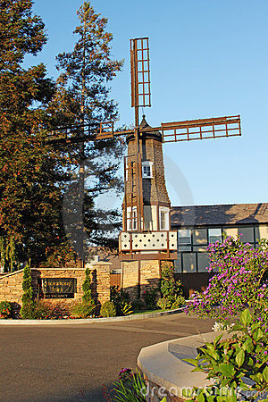 Old Windmill at Kronborg Inn, Solvang California Editorial Photo