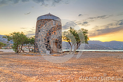 Old windmill ruin at Mirabello Bay