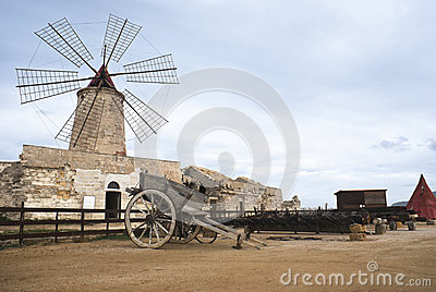 Old windmill in sicily, trapani