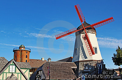 Old Windmill in Solvang California Editorial Stock Image