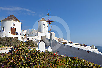 Old windmills at Santorini island in Greece