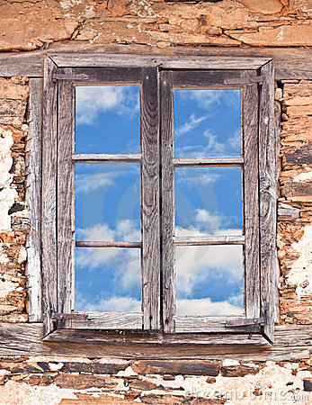 Old Window and Blue Sky