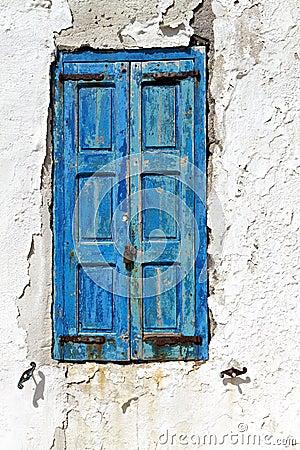 Old window in a Greek island