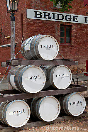 Old wine barrel stack in Port of Echuca. Editorial Stock Image