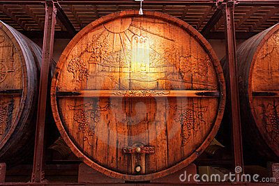 Old wine barrels in the cellar