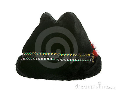 Old winter furry black hat