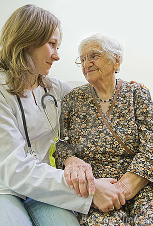 Free Old Woman And Young Doctor Stock Photo - 8627550