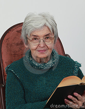 Old woman with a book