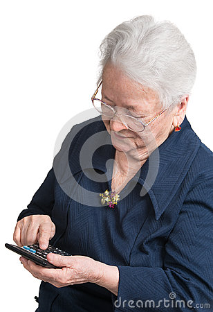 Old woman with calculator