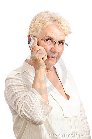 Old woman at cell phone