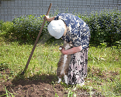 The old woman with chopper takes cat