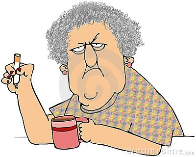 Old Woman With Coffee And Cigarette