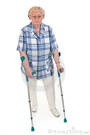 Old woman with crutches