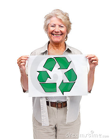 Old woman holding recycle symbol