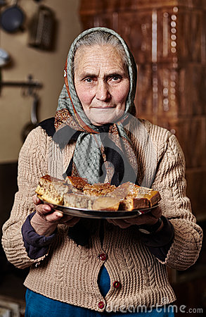 Old woman with homemade cookies