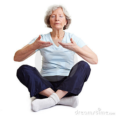 Old woman meditating