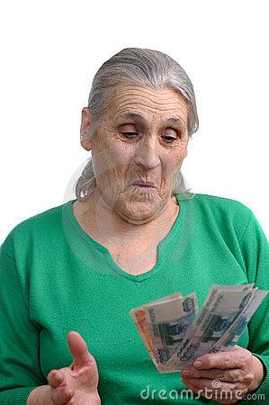 Old woman with money
