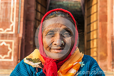 An old woman with a nose ring Editorial Image