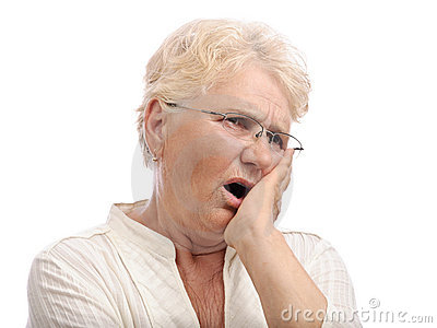 Old woman mouth teeth pain