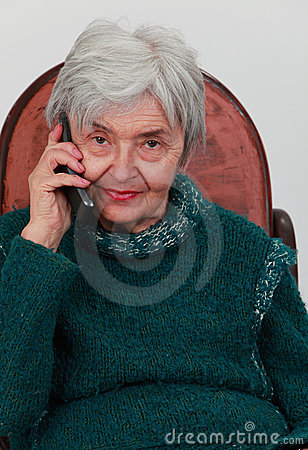 Old woman on the phone
