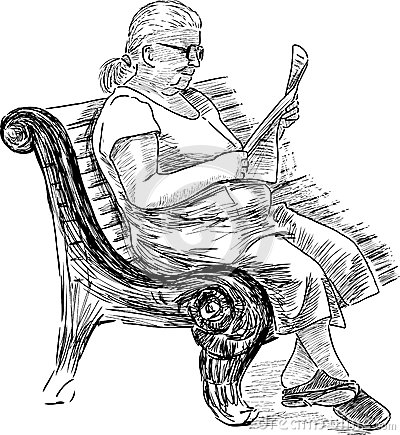 Old woman reading a newspaper