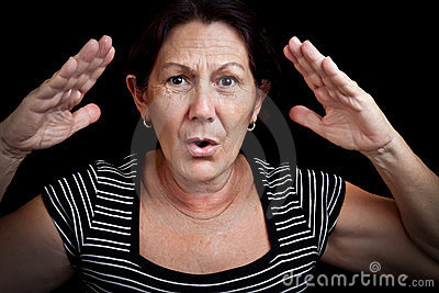 Old woman screaming