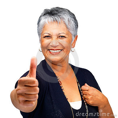 Old woman showing a success sign on white