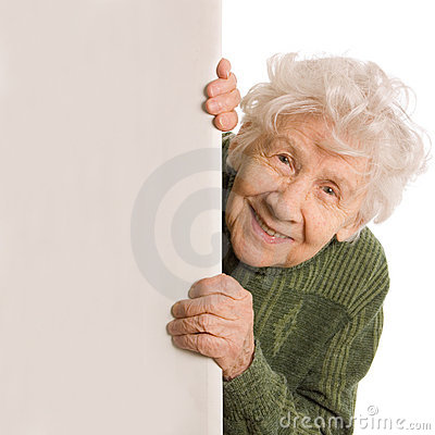 Old woman spies isolated on white background