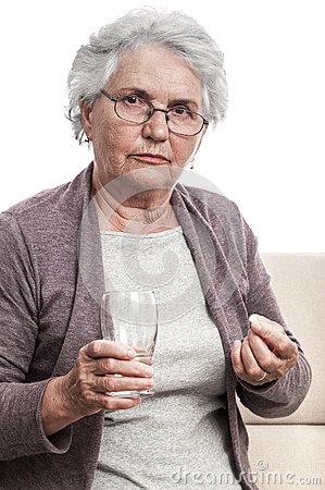 Old woman taking drugs