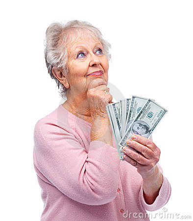 Old woman thinking about investing money