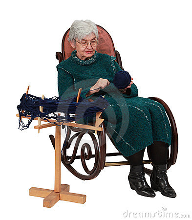 Old woman using a reel