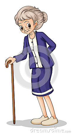 An old woman using a wooden cane
