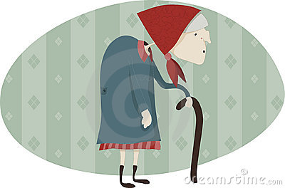 Old woman with a walking-stick