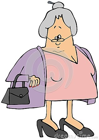 Old woman wearing a sweater
