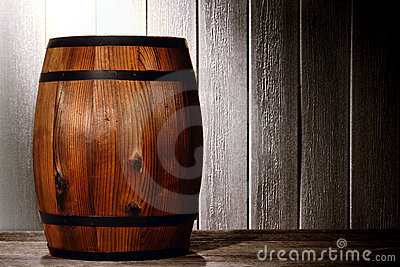 Old Wood Antique Whisky Barrel in Aged Warehouse