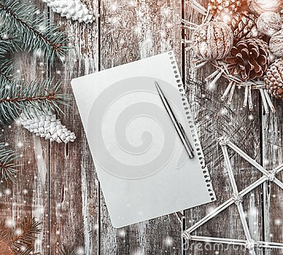 Free Old Wood Background, Green Fir Tree With White Cones, A Basket Of Cones And Walnuts And A Decorative Star, Letter To Santa. Stock Image - 105123171