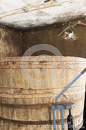 Old wood barrel in wine cellar
