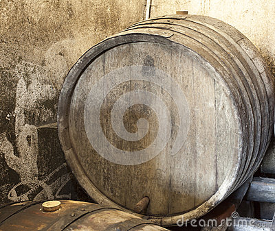 Old wood barrel in wine cellar