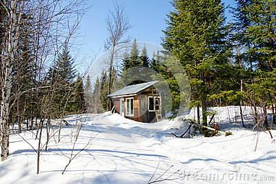 Old wood cabin during winter
