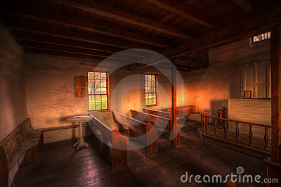Old wood country church interior
