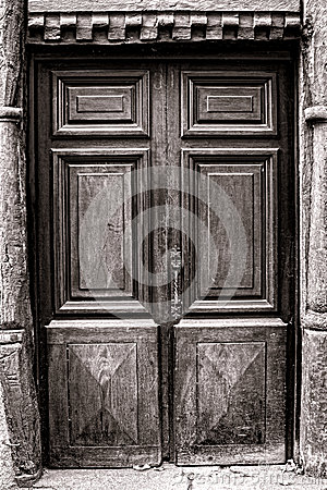Old Wood Door on Medieval Historic House