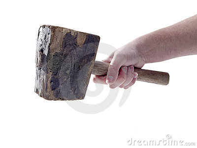 Old Wood Hammer Isolated