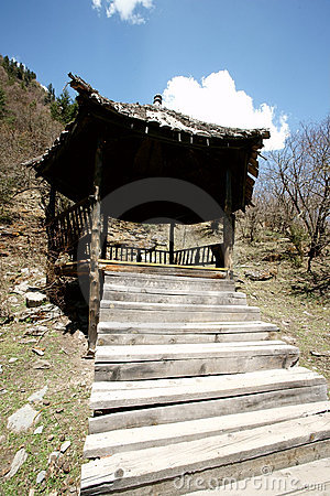 Old wood pavilion with blue sky