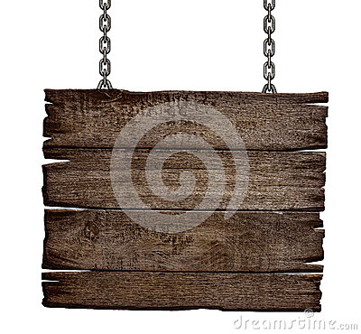 Free Old Wood Sign Board On Chain Royalty Free Stock Photos - 34382838