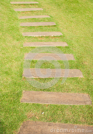 Old wood walkway on the green grass
