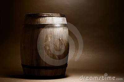 Old Wood Whisky or Wine Barrel in Vintage Sepia