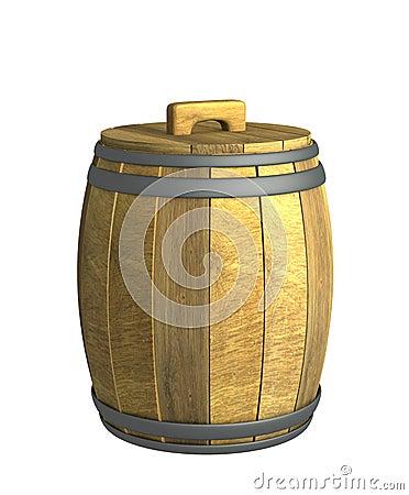 Old wooden 3d wine a barrel