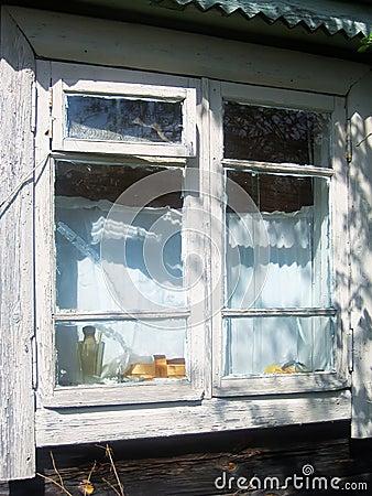 Old wooden barn window